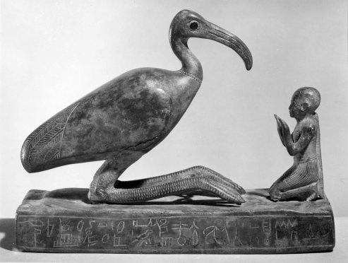 Group_statue_of_Thoth-ibis_and_devotee_on_a_base_inscribed_for_Padihorsiese_MET_54.125.4-bw