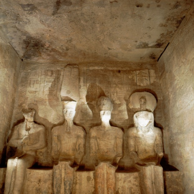 Abu_Simbel_temple,_four_statues_of_divinities_in_sanctuary