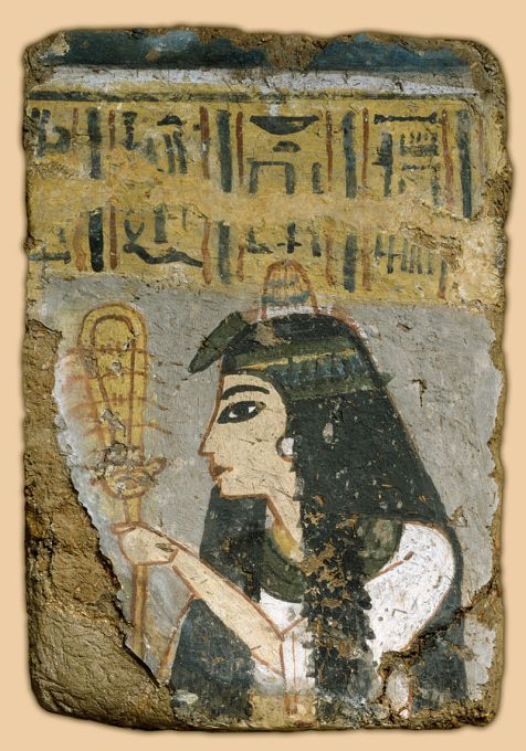 Egyptian_-_Wall_Painting-_Woman_Holding_a_Sistrum_-_Google_Art_Project